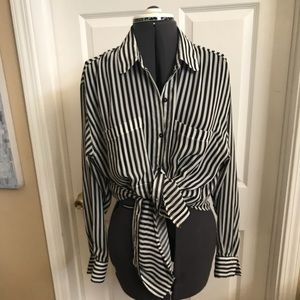 "American Apparel ""Chiffon"" striped blouse"